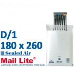Mail Lite 180 x 260 wht bubbled lined D1 - Box of 100