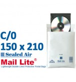 Mail Lite 150 x 210 wht bubble lined C0 - Box of 100