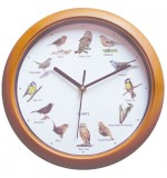 Singing Bird Sound Wall Clock with Wood Effect Frame