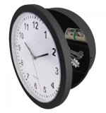 Wall Clock with Secret Safe Compartment - Black