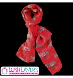 Lush Layers Designer Zebra Print Scarf - Red