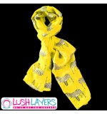 Lush Layers Designer Zebra Print Scarf - Yellow
