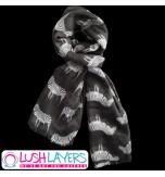 Lush Layers Designer Zebra Print Scarf - Black