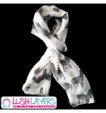 Lush Layers Designer Zebra Print Scarf - White