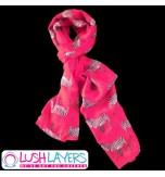Lush Layers Designer Zebra Print Scarf - Hot Pink