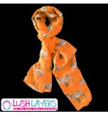 Lush Layers Designer Zebra Print Scarf - Dark Peach / Orange