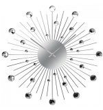 Diamante Clock - Black Arms and Silver Diamonds - SUNBURST VENTURA