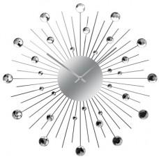 Diamante Clock - Black Arms and Silver Diamonds - SUNBURST VENTURA