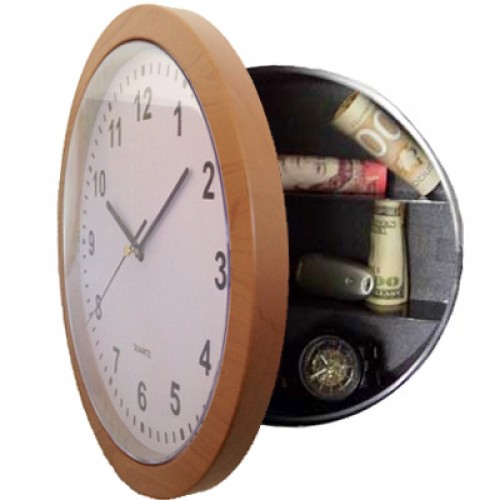 Wall Clock With Secret Safe Compartment   Wood Effect Frame