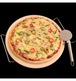 Round Pizza Stone with Chrome Stand and Pizza Cutter - 33cm Diameter