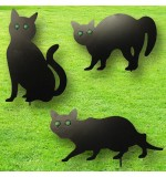 Set of 3 Metal Cat Statue Decoys