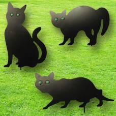 Set of 3 Metal Cat Statue Decoys