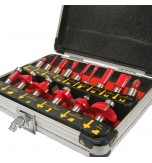 15 Piece Router Bit Set 0.5inch Shank in Aluminium Case
