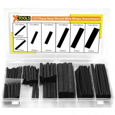 127 Piece Heat Shrink Wrap Sleeves Assortment - Black