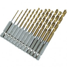 13Pc HSS Drill Set 1/4inch Titanium Coated