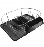 Oval Dish Drainer Rack - Black - 4pc Set - With Tray