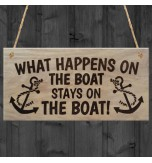 WOODEN PLAQUE - 200x100 - What Happens On The Boat