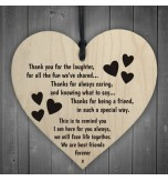 WOODEN HEART - 100mm - Thank You For The Laughter