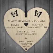 WOODEN HEART - 100mm - Braver Stronger Beautiful Loved