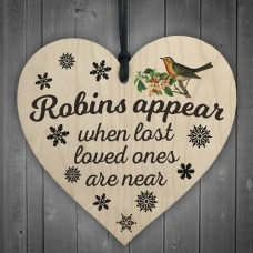 WOODEN HEART - 100mm - Robins Appear