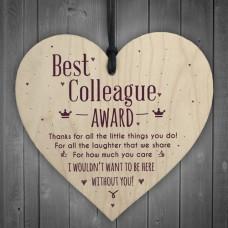 WOODEN HEART - 100mm - Best Colleague Award