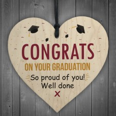 WOODEN HEART - 100mm - Congrats on your graduation