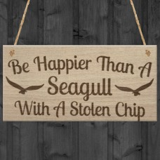 WOODEN PLAQUE - 200x100 - Happier Than A Seagull