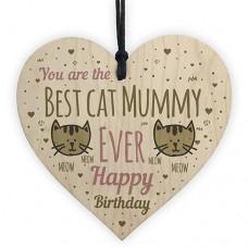 WOODEN HEART - 100mm - Best Cat Mummy