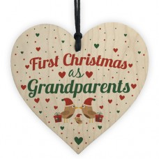 WOODEN HEART - 100mm - First Christmas as Grandparents