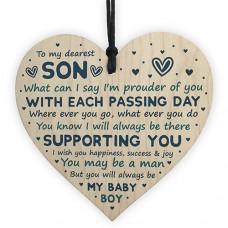 WOODEN HEART - 100mm - My Dearest Son Proud