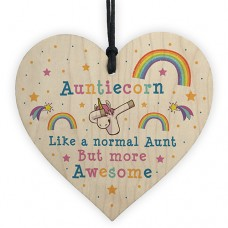 WOODEN HEART - 100mm - Awesome Auntie Unicorn