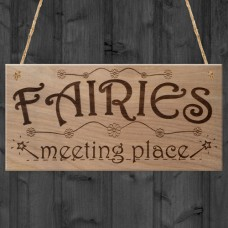 WOODEN PLAQUE - 200x100 - Fairies Meeting Place