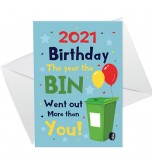 A6 Folded Card P - 2021 Birthday Bin Went Out More Balloons